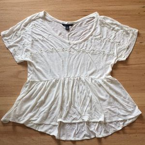 American Eagle Peplum Top with Eyelet Detail